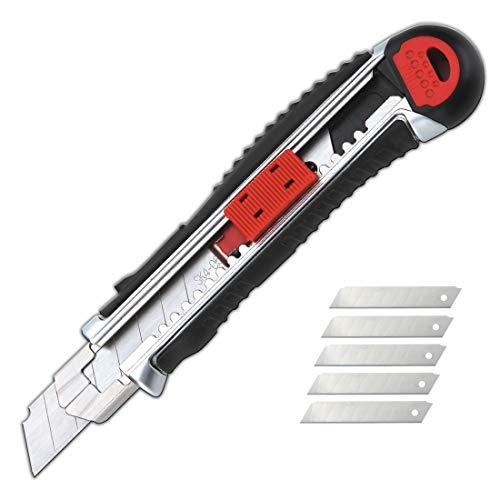 KUTIR Retractable Box Cutter Utility Knife - Easy SELF Loading Zinc-Alloy Heavy Duty Carpet, Rope, Cardboard Comfortable Handle Knive, 4 Sharp Rust Proof Razor Snap Off Blades Set - Metal Safety Lock