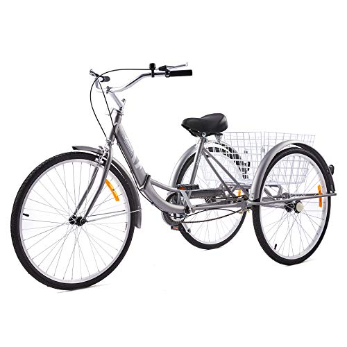Viribus Adult Tricycle with Carbon Steel Frame | Folding Tricycle with Large Bike Basket | Folding Trike | Adult Trike Bike for Women Men Errands Exercise Mobility Fun (Gray, 26'/1-Speed)