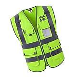SDENSHI Bandes Réfléchissantes De Gilet De Sécurité Pour Le Fonctionnement De L'industrie De La Construction - Vert fluorescent, XL