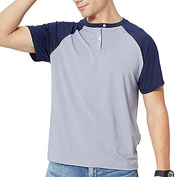 Men's Summer Henley Front Placket Raglan Short Sleeve Baseball T-Shirts