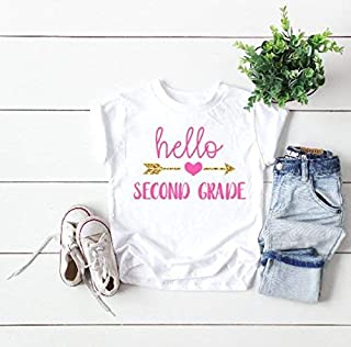 kids back to school top cute children's tee hello second grade shirt first day of second grade tee announcement t-shirt