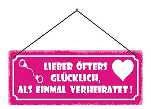 Metalen bord Lieber vaak gelukkig, als eens getrouwd! (Rose schild met handboeien en hart) metalen bord tin Sign Dekoschild 27x10 met koord | blikken bord | hangbord | deurschild