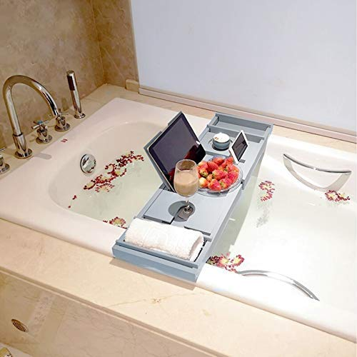 CellDeal Extendable Bamboo Bath Tray With Tablet Phone Slots, Candle Mug/Cup Holder