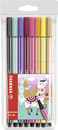 Feutre dessin - STABILO Pen 68 Living Colors - Pochette 8 feutres pointe moyenne - Décor lama