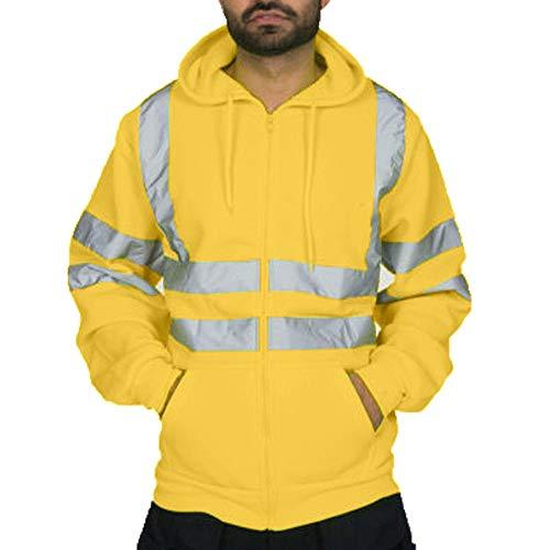 Dihope - Felpa da uomo ad alta visibilità, a maniche lunghe, con cappuccio riflettente, con zip, da lavoro, in pile giallo Medium/Etichetta Large