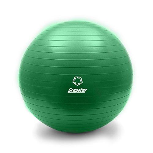 Gregster Gymnastikball, gut geeignet als Fitnessball, Yogaball oder Pilatesball, 55 cm, grün