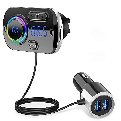 Bluetooth FM Transmitter for Car, Bluetooth Car Adapter, QC3.0 & LED Backlit Dual USB Ports, Wireless Bluetooth FM Radio Adapter Receiver Hand-Free Calling Audio MP3 Music Player Suport TF Card AUX