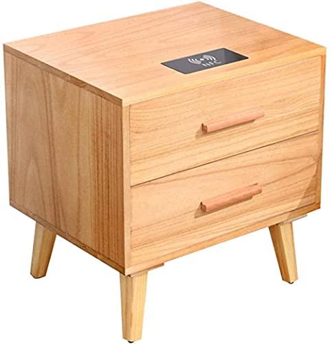 Arkivskåp Nattduksbord Sängbord i massivt trä, Sängbord i sovrummet, med trådlös laddning Hörnbord i två lådor Sidobord (Färg: D)