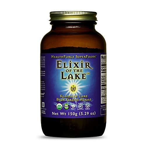 HealthForce SuperFoods Elixir of The Lake Powder - 150 Grams - Klamath Lake Blue Green Algae Supplement - Supports Endorphin Production & Mood - Organic, Vegan, Gluten Free - 75 Servings