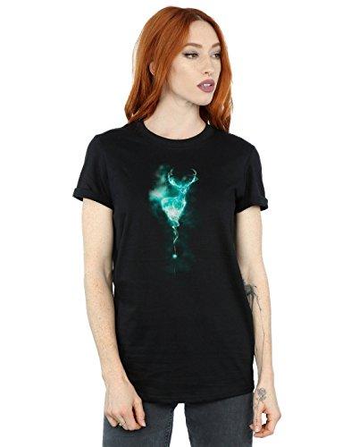 Harry Potter Damen Stag Patronus Mist Boyfriend Fit T-Shirt Medium Schwarz
