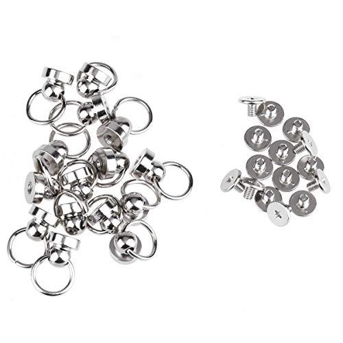 Skyllc® 20pcs 9mm botón de cabeza redonda remaches de perno prisionero de cuero tornillos de arte remaches de clavo con círculo giratorio tirar hebilla del anillo (plata)