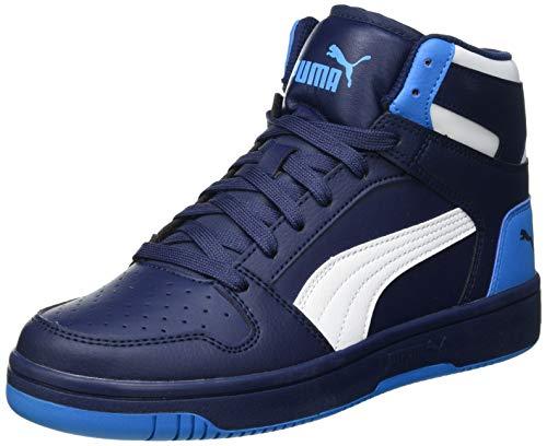 PUMA Rebound Layup SL JR Sneaker, Peacoat White Dresden Blau, 38.5 EU
