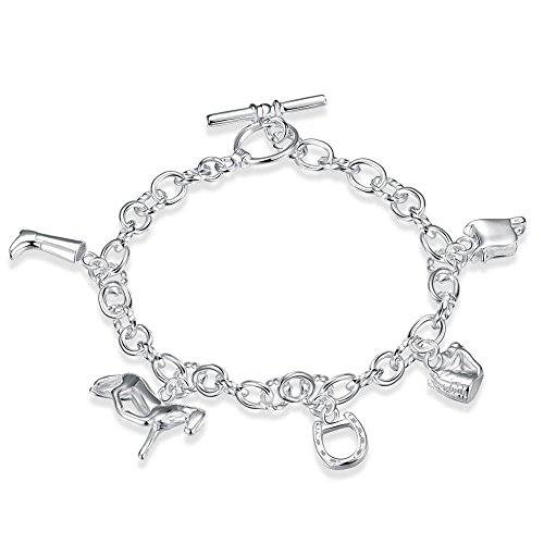BODYA Travel Theme Charm Bracelet Dangling String Horse Bag Shoes Bracciale con Ciondolo Bracciale Tono Argento