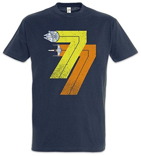 Urban Backwoods Vintage Rebel Born 77 Herren T-Shirt Blau Größe 2XL