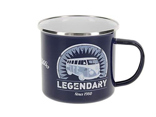 BRISA VW Collection - Volkswagen Furgoneta Hippie Bus T1 Van Taza de Café metálica Esmaltada en Caja de regalo, Copa de Té, Decoración de la Mesa/Outdoor/Camping/Souvenir (Vintage Logo/Azul)