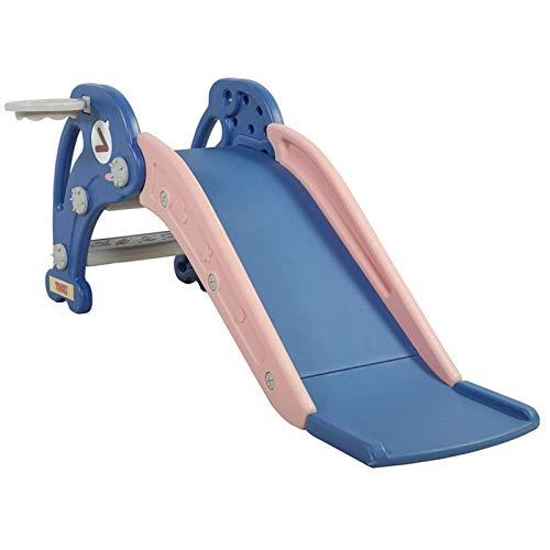 WHL Toboganes para Niños para Interiores Y Exteriores, Toboganes Independientes para Parques Infantiles, Toboganes, Juegos De Juguetes para Escalar con Soportes Y Pelotas De Baloncesto(Color:Azul)