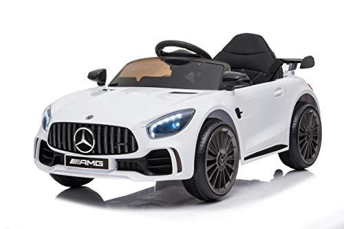Tecnobike Shop Auto Macchina Elettrica per Bambini Mercedes GTR GT-R AMG 12V - Small Luci LED Suoni Mp3 Telecomando (Bianco)
