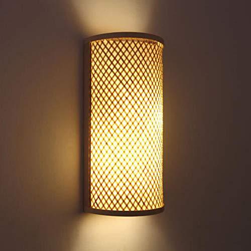 Lámpara De Pared De Madera Retro Pantalla De Bambú Natural Iluminación De Pared De Ratán Vintage Lámpara De Pared Interior E27 Techo Colgante Rústico Para Sala De Estar Loft Cocina Dormitorio Comedor