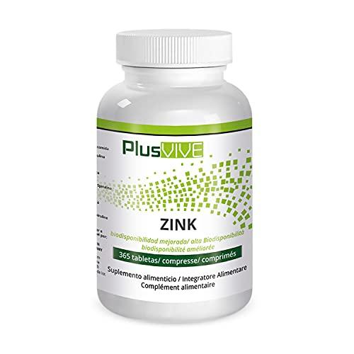Plusvive - 365comprimés de zinc avec matrice de biodisponibilité, (25mg)