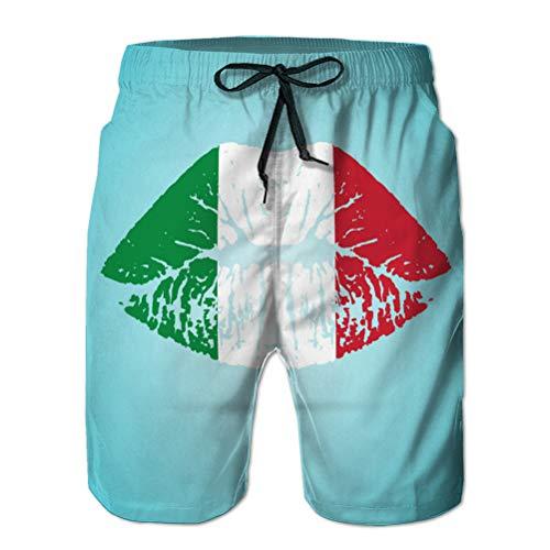LJKHas232 140 Herren Beach Shorts 3D-gedruckte Badehose Italien Flagge Lippenstift auf den Lippen Isolat L