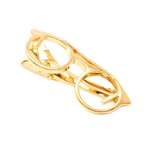 ZCX Metall Persönlichkeit Brille Form 2 Überzug Farbe Kragen Clip Men Krawattenklammer Manschettenknöpfe Krawattenklammer Krawattennadeln (Color : B)