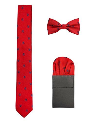 Hombre 6cm Corbata & Pajaritas & Pañuelo de Bolsillo 3 en 1 Set Moda Casual Cool - Calavera Patrón Rojo