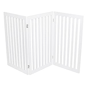 Internet's Best Traditional Pet Gate – 3 Panel – 36 Inch Tall Fence – Free Standing Folding Z Shape Indoor Doorway Hall Stairs Dog Puppy Gate – White – MDF
