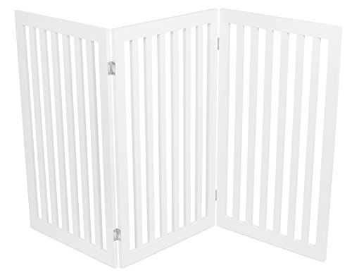 Internet's Best Traditional Pet Gate - 3 Panel - 36 Inch Tall Fence - Free Standing Folding Z Shape Indoor Doorway Hall Stairs Dog Puppy Gate - White - MDF