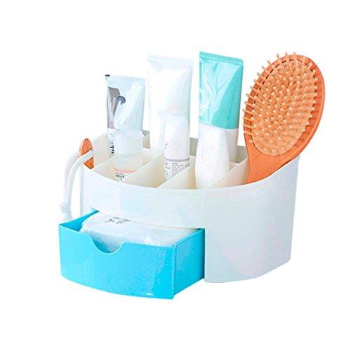 Mamum Boîte de rangement pour cosmétique, maquillage, pinceau - Pour femme, Plastique ABS, bleu, Taille unique