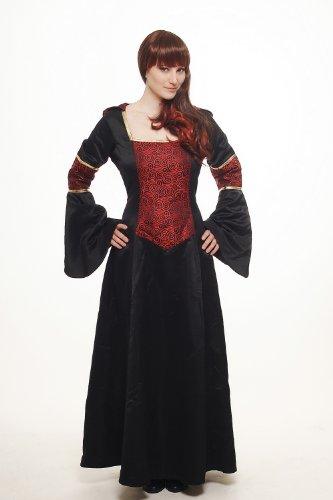 DRESS ME UP – Kostüm Damen Damenkostüm aufwändiges Kleid mit Haube Mittelalter Romantik Elfe Gotik Gothic Burgfräulein Weinrot-Schwarz L076 Gr. 42 / M - 2