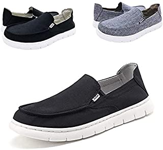 QZX Boat Shoes Men Deck-Canvas-Loafers-Slipon-for Mens Casual Walking Vintage Flat Comfort Shoe
