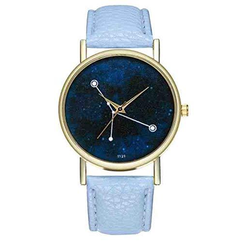WDQTDY dameshorloge, modieus, casual, leer, sterrenbeeld, wijzerplaat voor dames, casual, kwarts, eenvoudige armband, B30, hemelsblauw