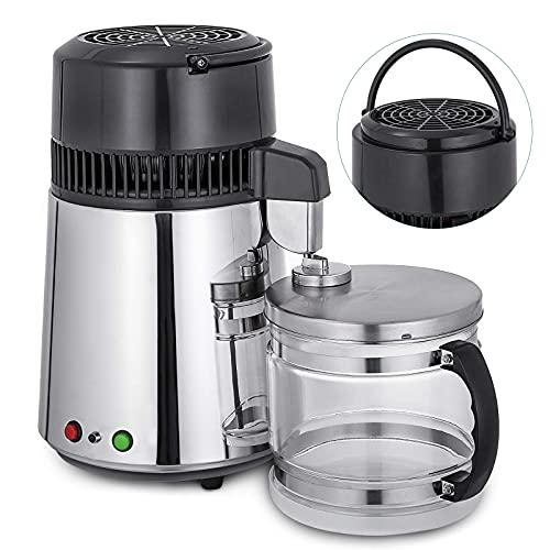 Máquina de filtro purificador de acero inoxidable de 1,1 gal/4 l 750 W, con mango de grado alimenticio, recipiente de vidrio de salida de calidad alimentaria, perfecto para uso doméstico
