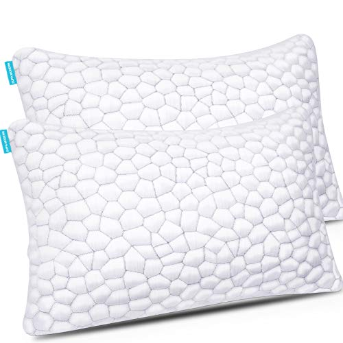 Cooling Bed Pillows for Sleeping 2 Pack Shredded Memory Foam Pillows with Adjustable Loft, Hypoallergenic BAMBOO Pillows Gel Pillow for Back Side...