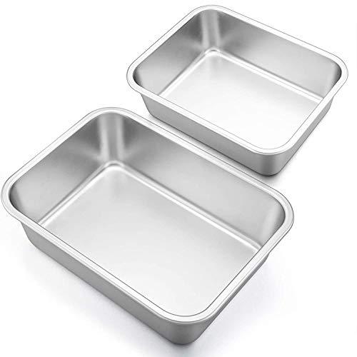 YanYun Tiefer Teller Lasagne Pfannen Set, 2 Teilige Rechteckige Auflauf Formen Aus Edelstahl, L?Ngliches Metall Back Geschirr zum Braten S, L.