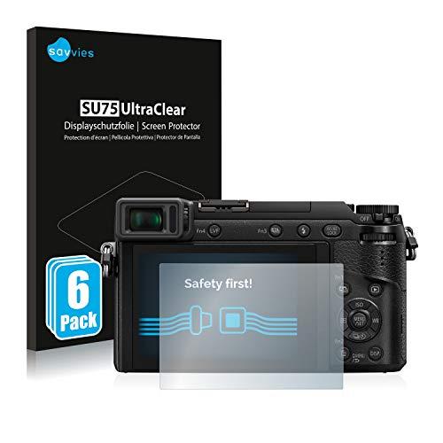 Savvies 6X Schutzfolie kompatibel mit Panasonic Lumix DMC-GX80 Bildschirmschutz-Folie Ultra-transparent