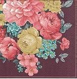 20pcs tovaglioli per decoupage mazzo di fiori con mandala scuro Claret Vintage SLOG051401