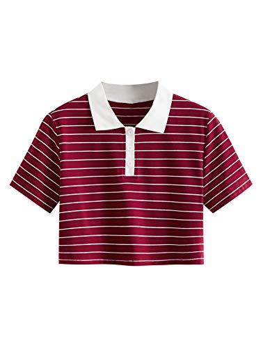 SweatyRocks Women's Collar Half Button Short Sleeve Rainbow Striped Crop Top T Shirt Burgundy XL
