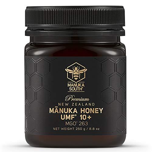 Miel Mānuka Nueva Zelanda: auténtica miel cruda sin OMG de Manuka South – Superalimento de calidad premium – Certificado UMF 10+/MGO 263+ (250g/8.8oz)