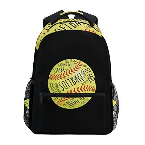 Stylish Backpack with Funny Softball Print, Lightweight School College Travel Bags, Chunbb 16' x 11.5' x 8'