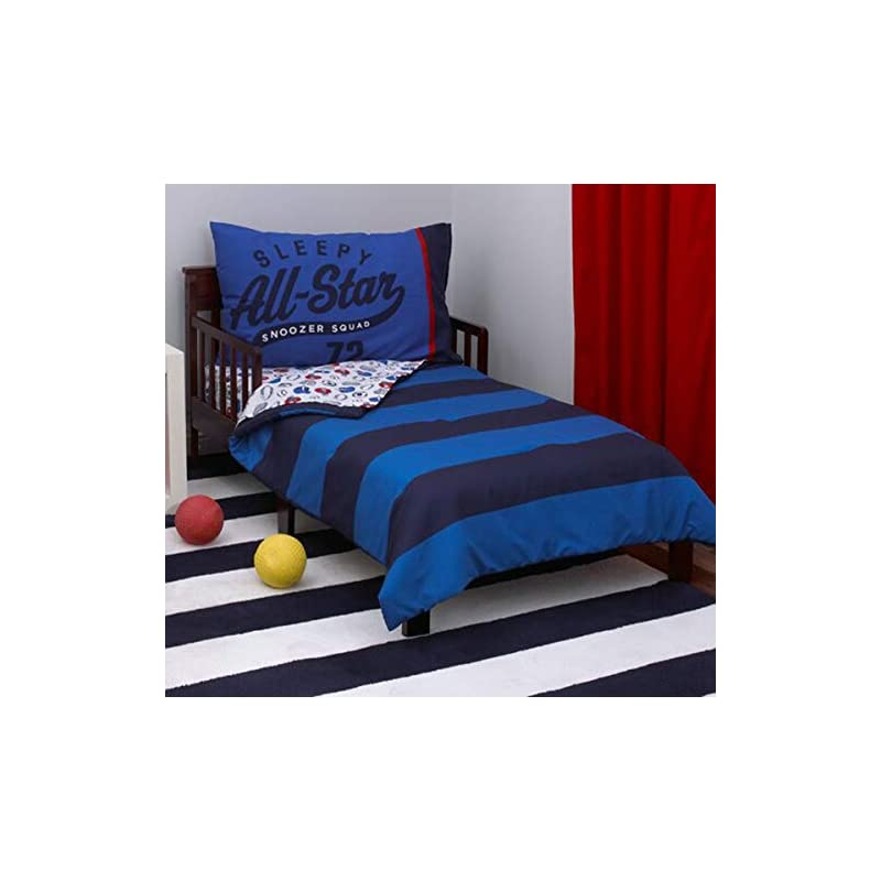 """crib bedding and baby bedding carter's 4-piece toddler set, blue/white/red all star, 52"""" x 28"""""""