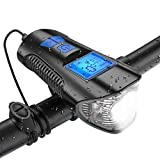 Shenruifa - Luz de bicicleta para bicicleta (USB, recargable, luz trasera, luz trasera de bicicleta, luz trasera y luz delantera, con velocímetro de bicicleta, cuentakilómetros