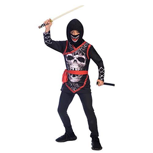 amscan 9905055 - Disfraz de ninja con máscara de dientes de miedo (8 a 10 años), color negro