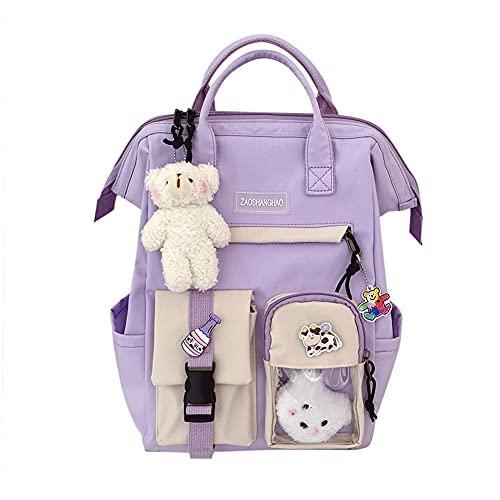 Kawaii Mochila con colgante Kawaii y accesorios, bonita mochila escolar para viajes, Harajuku para adolescentes, 38 x 26 x 18 cm, morado, 38