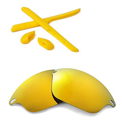 Walleva Wechselgläser Und Earsocks für Oakley Fast Jacket Sonnenbrille - Mehrfache Optionen (24K Gold Polarisierte Linsen + Gelber Gummi)