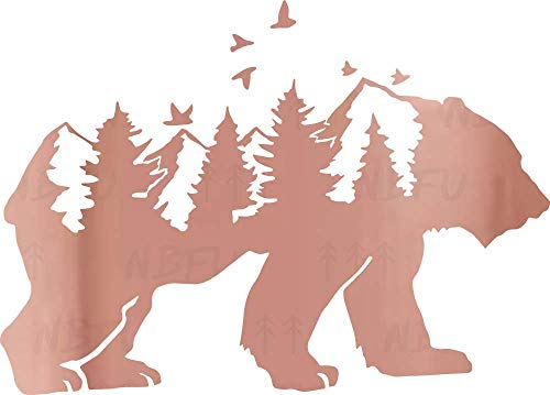 NBFU Decals Mountain Scene Bear Wildlife Pine Tree 1 (Rose Gold) (Set of 2) Premium Waterproof Vinyl Decal Stickers Laptop Phone Accessory Helmet Car Window Bumper Mug Tuber Cup Door Wall Decoration