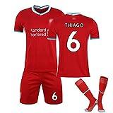 Erwachsene Kinder Fußball Jersey Kits Liverpool Trikot Virgil 4 Thiago 6 Mähne 10 Fans Fussball T-Shirt,2021 Fußball Kurzarm Shorts Sportwear Sweatwear Training Anzu #6-XL