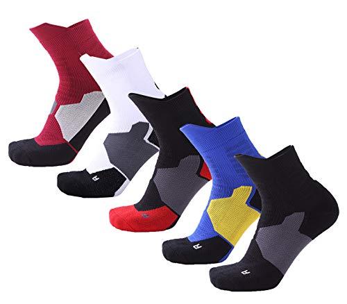 5 Pairs Mens Athletic Quarter Socks, Elite Basketball Cushion Quick Dry Crew Socks - Thick Sports Socks For Boys Girls (Black,Blue,Red,White,Red&Black)