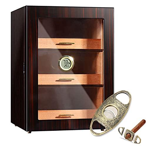 Handgefertigter Zigarren Humidor Schrank bis zu 200 Zigarren, Zigarrenkiste mit 3-lagigen Zedernholzschalen, Großraumschrank mit Hygrometer und Luftbefeuchter, Zigarren Humidor Kit