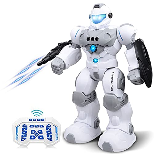 RC Robot for Kids Intelligent Programmable Robot with Infrared Controller Toys,Dancing, Singing,Blue Eyes,Gesture Sensing /Remote Control Robot Kit,Present for 3 -12 Years Old Kids Boys and Girls,Grey